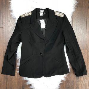 Cache Black Studded Shoulder Jacket Blazer